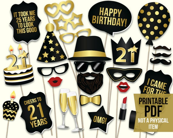 & 21st birthday photo booth props printable PDF. Black and gold.