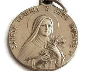 Vintage Silver Plated St Theresa medal, St Therese of Lisieux Pendant, Religious Jewelry, Christian Medal, In case of accident