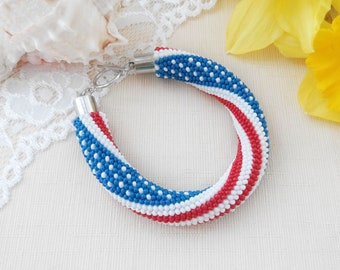 USA flag bracelet, American bracelet, Independence day gift, 4th July bracelet, Patriotic jewelry, USA Bead bracelet, USA gift for american