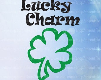 Lucky charm svg, Saint Patricks Day, cutting files for cameo and cricut, htv shirt transfer, vinyl clipart, shamrock clover