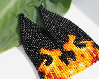 "Beaded earrings ""Flames"", flames earrings, seed bead earrings, peyote stitch earrings, tassel earrings, halloween earrings, gift for women"