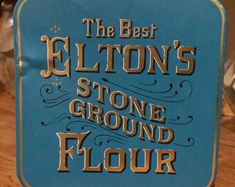eltons flour tin, turquoise tin, Vintage Metal Containers, large flour tin, blue, teal