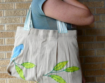 Upcycled Purse or Tote Spring Bird on a Branch