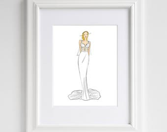 Custom Bridal Sketch-Wedding Gift-Custom Fashion Illustration-Custom Drawing-Bride-Bridal Illustration-Custom Bride-Eliza Gwendalyn