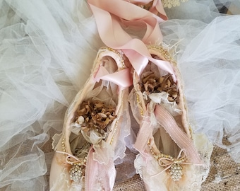 Decorative Pointe Ballet Shoes Shabby Cottage Decor Altered Ballet shoes Wall Decor