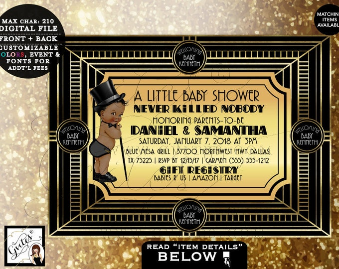"Baby Shower Great Gatsby Baby Shower BOY Invitations, Printable, African American Invites, Black and Gold invitation 5x7"" Gvites"