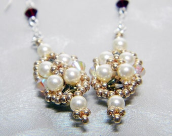 "Once Upon a Time Snow White Inspired Swarovski Crystal Earrings Beadweaving Sterling Silver -  ""The Fairest"""