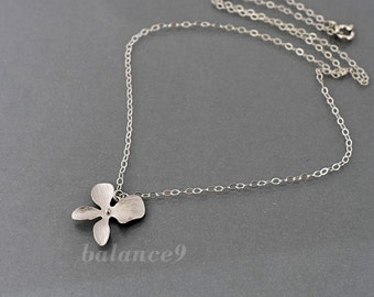 Silver orchid necklace, dainty floral necklace, sterling silver chain, one flower, bridesmaids gift, wedding jewelry, by balance9