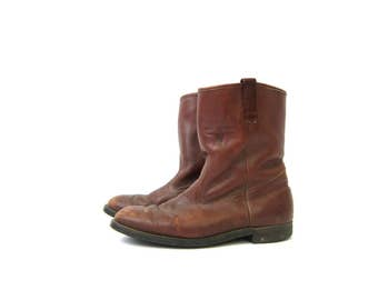 Brown Leather Work Boots Mason Western Boots 1980s Distressed Cowboy Rancher Boots Men's Rockabilly Shoes size 9.5 D