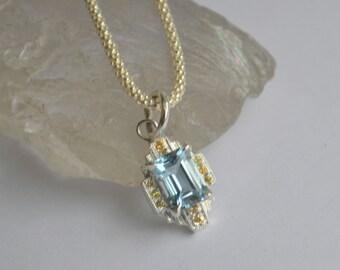 Silver Art Deco Pendant, art deco necklace, emerald cut gemstone, colored gemstone jewelry, gifts for moms, diamond pendant, aquamarine