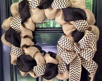 Black and Natural Chevron Burlap Wreath - front door or accent - As Seen in COUNTRY SAMPLER Magazine
