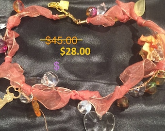 Fly Ribbon, Wire and Charm neckalce sold for 95.00 NOW 28.00  opening special!         Only three left in stock!
