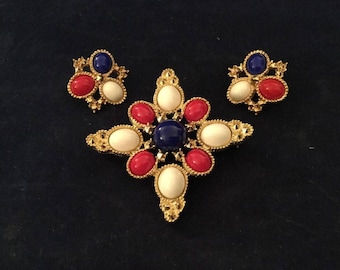 Red White and Blue Brooch Earrings Sarah Coventry