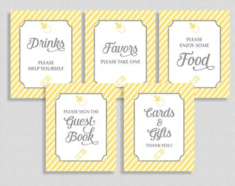 Yellow Stripe Baby Shower Signs, Yellow Shower Sign Package, 5 Sign Bundle, Gender Neutral, INSTANT PRINTABLE
