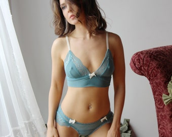 sheer lingerie set with lace trimmed bralette and panties JESTER - made to order