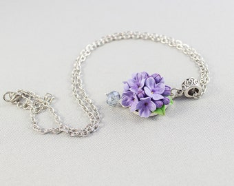 Flower pendant with lilac flowers from polymer clay. Floral Jewelry for Women. Small romantic pendant with lilac