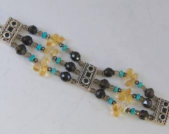Vintage Barse Sterling Silver Bracelet  Faceted Real Gemstones Triple Strand