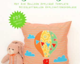 PDF Applique Template - Hot Air Balloon