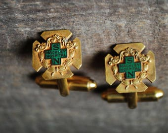 Historical vintage 40s, gold tone metal cufflinks of the graduation nursing school ,Muskegon Hackly  Hospital