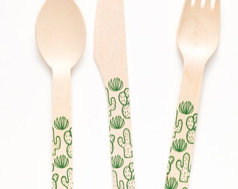100 Cactus Forks Spoons Or Knives - Perfect Alternative To Plastic Utensils For Parties