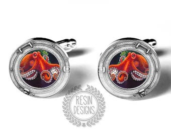 Octopus Cufflinks, Porthole, Kraken, Handmade Cufflinks, cephalopod mollusk, Ocean, Mens Gift, Red Orange, Gift for him, Sea Monster