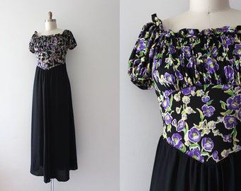 vintage 1930s floral dress // 30s rayon jersey gown