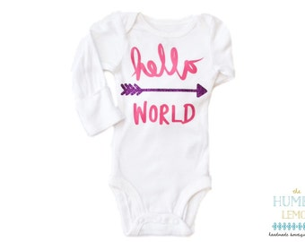 Baby Girl Coming Home Outfit: Hello, World Arrow Bodysuit