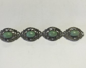 Vintage Peruzzi Silver and Green Stone Bracelet, Vintage silver and light green bracelet, Vintage Jewlery