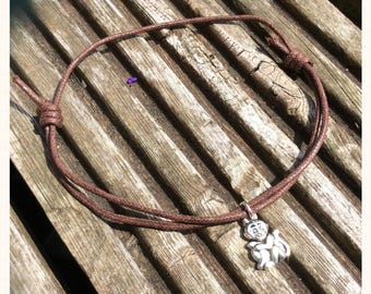 Brown Cord Monkey Charm Anklet