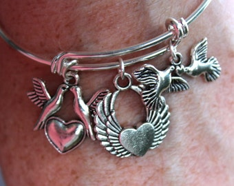 Lovely Adjustable Silver Plated Bracelet with Heart and Dove Charms