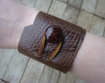 Leather Cuff - Rustic Leather Cuff - Brown Leather Cuff - Leather Cuff Bracelet - Leather Jewelry - Boho Cuff - Distressed Leather Cuff