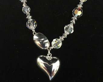 Swarovski and Vintage Crystal Necklace with Sterling Silver Heart Pendant and Magnetic Clasp
