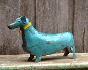 Reclaimed Metal Rustic Industrial Handmade Dachshund Dog Statue