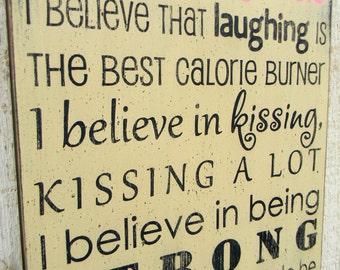 I believe in Pink - Audrey Hepburn typography word art wood sign