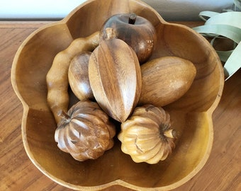 Vintage mid century carved wood fruit with bowl