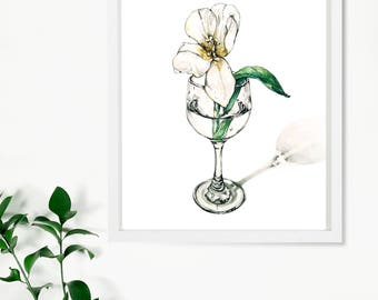 Tulip in a wine glass, Original watercolor ,Art collectibles, flower artwork,wall art ,watercolor tulip,glass art