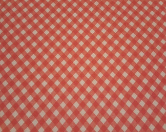 FQ Vintage FEEDSACK fabric - 18 x20 1/2 - PINK plaid