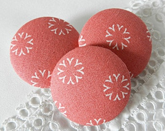 Pink floral fabric button, 32 mm / 1.25 in