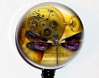 Purple Dragonfly Pocket Watch Steampunk Badge Holder ID  Teacher Designer Gift Retractable  Reel Clip
