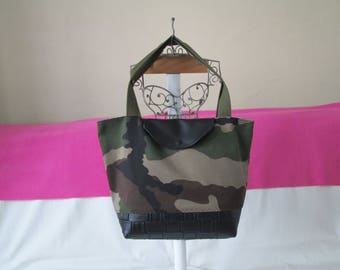 "BI-material ""military"" black damask pattern tote bag"