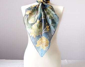 Square scarf WATERLILIES - silk scarves handpainted - scarf blue - scarves green - silk scarf - foulard soie - waterlily scarves dragonfly