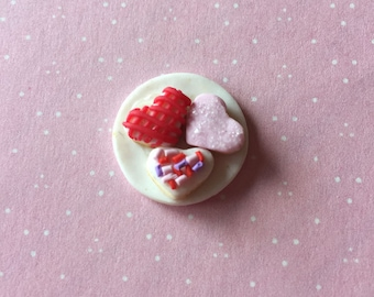 Miniature Plate of Valentine Cookies,1:6 scale