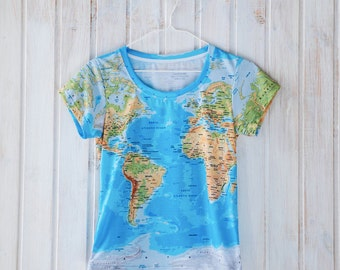 World map tshirt etsy world map t shirt globe print all over print design geography t shirt gumiabroncs Images