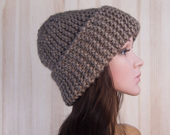 Brown Slouchy Beanie knitted Hat Slouch Hat Brown Beanie Slouchy winter hat slouchy hats womens knit hat