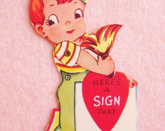 Vintage Valentine's Day Card Unused Mechanical Die Cut Valentine Boy Artist Painting a Sign with a Paintbrush for his Love Made in the USA