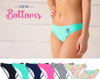 Monogrammed Swimsuit Bottom, Personalized Bottom, Monogrammed Swim Bottom, Bathing Suit Bottom, Monogram Bikini Bottom
