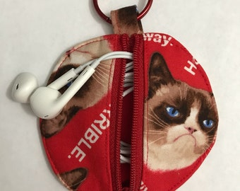 Grumpy Cat Earbud Pouch/Coin Purse