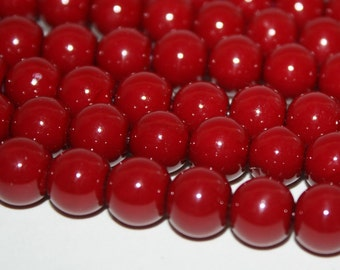 Cherry Red Glass Pearls 12mm - 34ct - D038