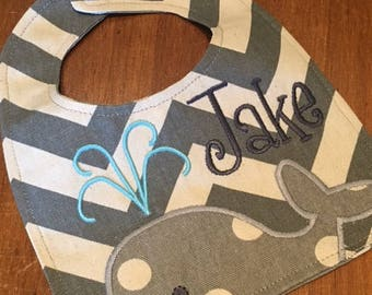 Gray Chevron Polka Dot Baby Bib  - Personalized Baby Bib - Monogrammed Baby Bib - Baby Shower Gift