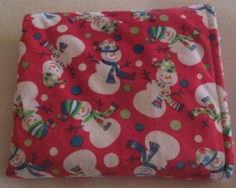 "Child's Red & White Snowy Snowman Minky Print Blanket  35"" x 60"""